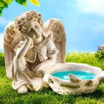 Angyalka  szobor madáritató-fürdető új