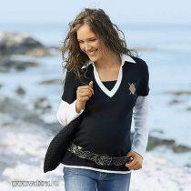 Fekete-fehér galléros pamut kismama felső fekete 44  új