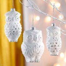 3 db üvegbagoly karácsonyi dekor új