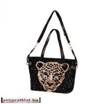 Flitteres női táska fekete leopárd