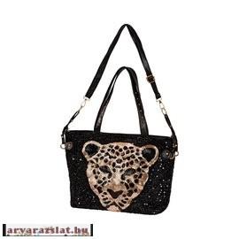Flitteres női táska fekete leopárd - Árvarázslat Webáruház