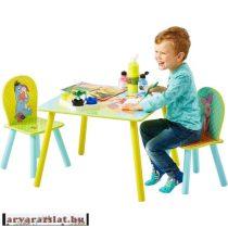 Micimackó és barátai asztal szett 2 székkel fából új