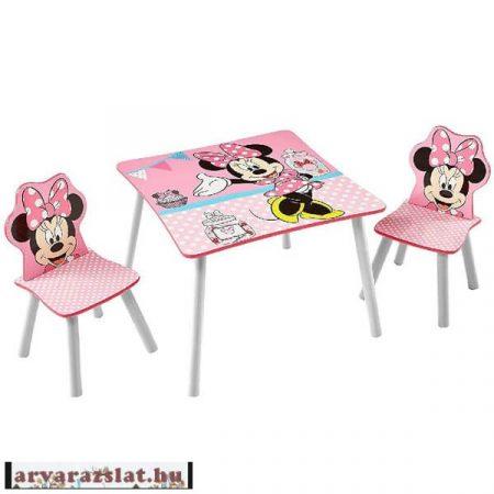 disney minnie  asztal szett 2 székkel fából új