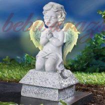 napelemes  világító szárnyú angyal 25 cm