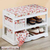 Fehér rózsás cipőtároló kis pad ülőke