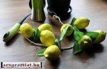 Dekor citrom 5 db felfűzve dekorációs gyümölcs