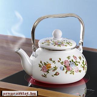 Romantikus zománc teáskanna új rózsás