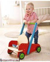 Masszív HABA  járássegítő fából, tologatós kis kocsi új