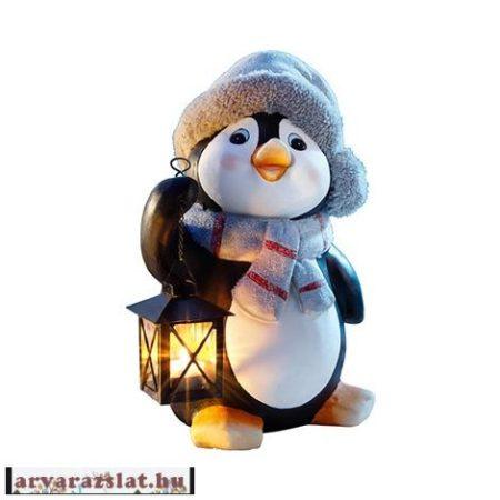 Pingvin lámpással nagy méretű műkő dekoráció