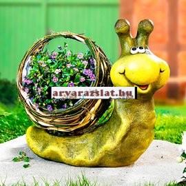 Virágtartó csiga kerti dekoráció új