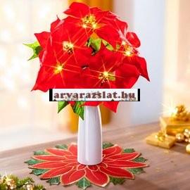 Ledes világító mikulásvirág vázával dekoráció új