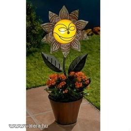 Napelemes fém naprfaforgó virágcserép dekoráció új
