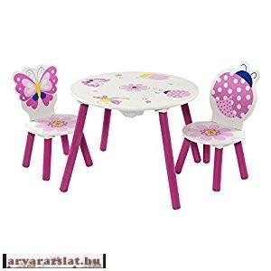Gyerek asztal szék garnitúra asztal szett pillangós