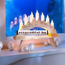 Natúr fa ledgyertyás karácsonyi ablakív, dekoráció új