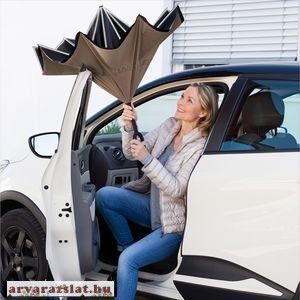 Hatalmas dupla anyagú profi csuklóra, kézre tehető esernyő fekete-drapp új