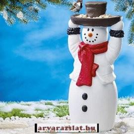 Nagy méretű madáretető hóember dekoráció új 52 cm