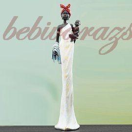 Afrikai szobor nő gyerekkel 50 cm