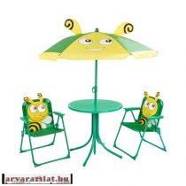 Gyerek kerti szék asztal garnitúra napernyővel új méhecskés
