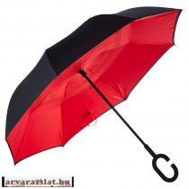 Hatalmas dupla anyagú profi csuklóra, kézre tehető esernyő fekete-piros új
