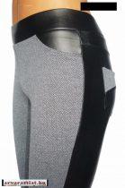 szövethatású hátul műbőr leggings L méret