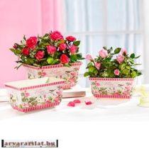 Fém virágtartó szett rózsás 3 db