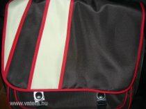 pelenkázótáska barna-piros-drapp számtalan hasznos funkcióval