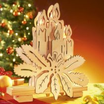 Fa gyertya karácsonyi dekor új