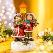 Karácsonyi világító éneklő gyerekek szobor új