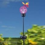 Színváltós kerti solár üveggömb pillangóval új