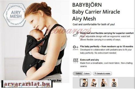 Baby Björn Miracle  kenguru fekete-ezüst újszerű