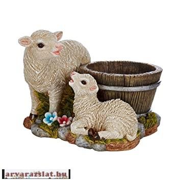 Bárány család cserép dekoráció húsvéti bárányos cserép új