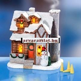 karácsonyi házikó világító füstölő tartó új