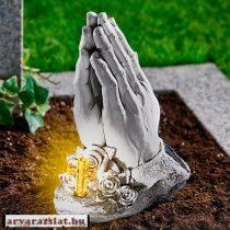Imátkozó kéz szolár napelemes dekoráció