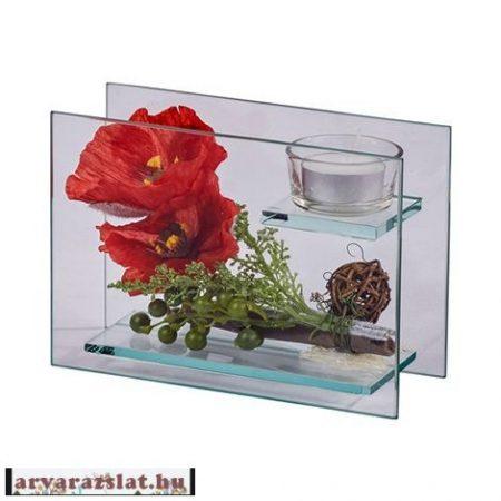 pipacsos gyertyatartós üveg dekoráció