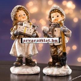 Karácsonyi gyerekek szobor pár dekoráció új