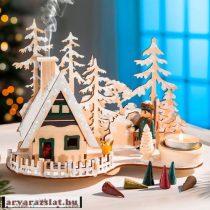 fa mécses és füstölőtartó házikó új