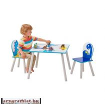 DINOSAURUS asztal szett 2 székkel fából új a.