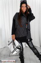 Hierbas Fekete trendi női steppelt kabát